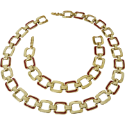 Monet Red Enamel Gold Tone Link Necklace Bracelet Set