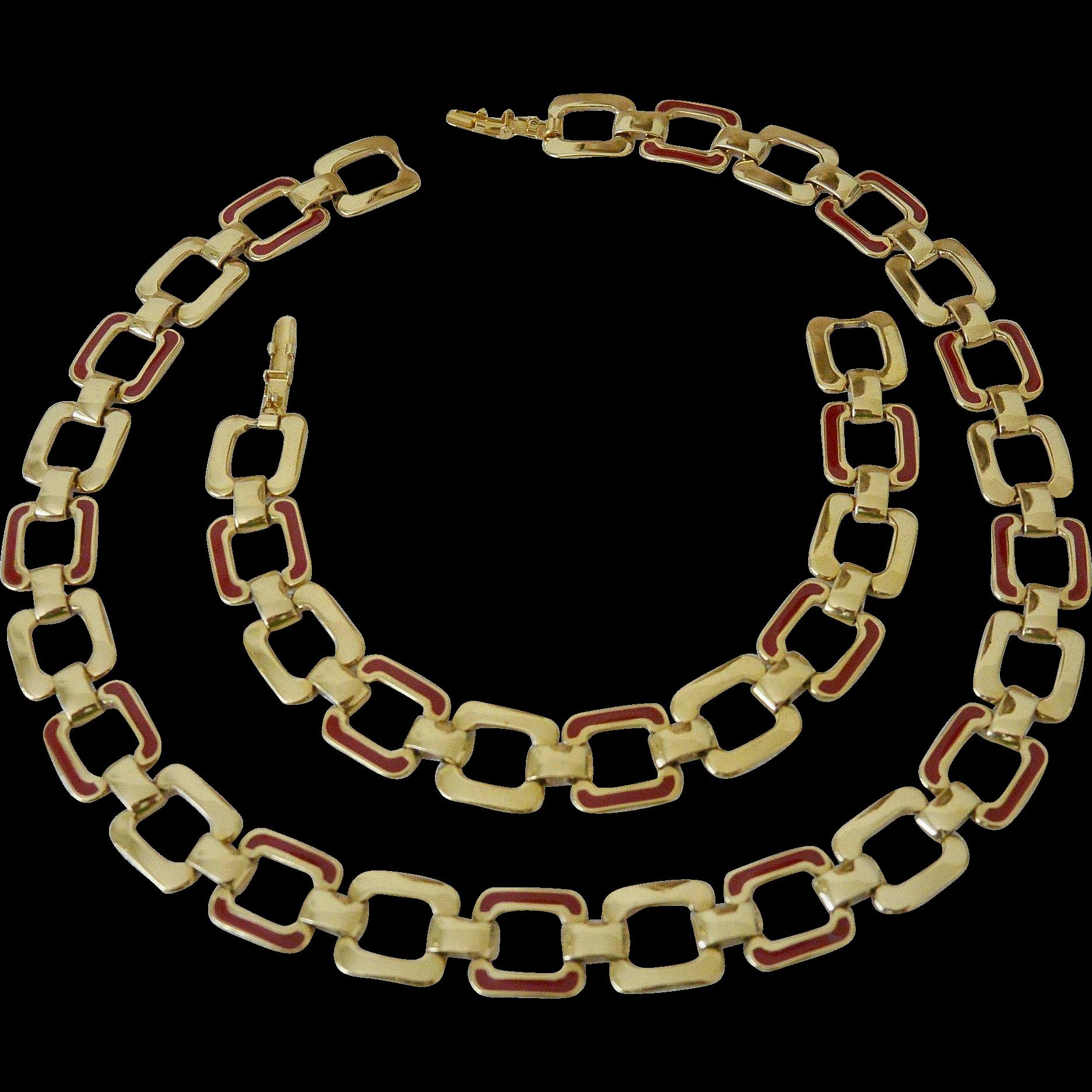 Monet Red Enamel Gold Tone Link Necklace Bracelet Set