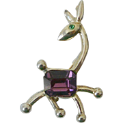 Amethyst Glass Belly Giraffe Figure Pin