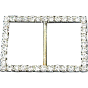 Vintage Rectangular Rhinestone Scarf and Sash Slide