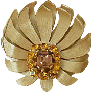 Lotus Brooch Pin Topaz Colors Rhinestones