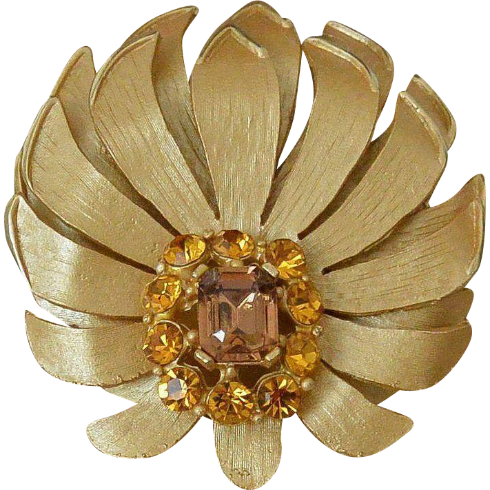 Lotus Brooch Pin Topaz Colors Rhinestones
