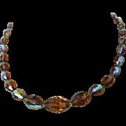 Mocha Crystals Necklace with Aurora Borealis