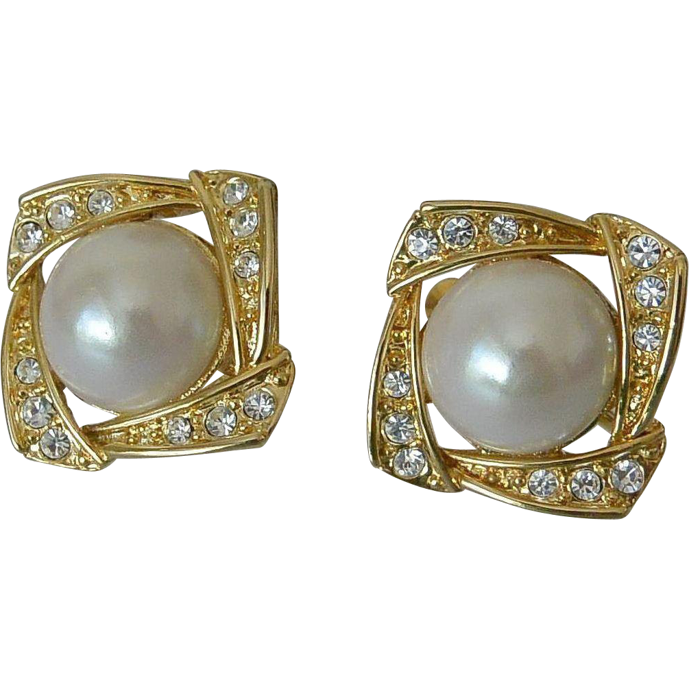Napier Rhinestone Faux Pearl Cabochons Screw Clip Earrings