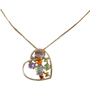 Jeweled Heart Pendant Necklace Pretty Colors