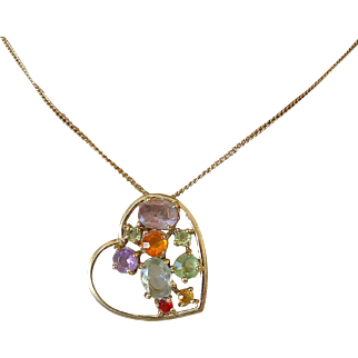Jeweled Heart Pendant Necklace