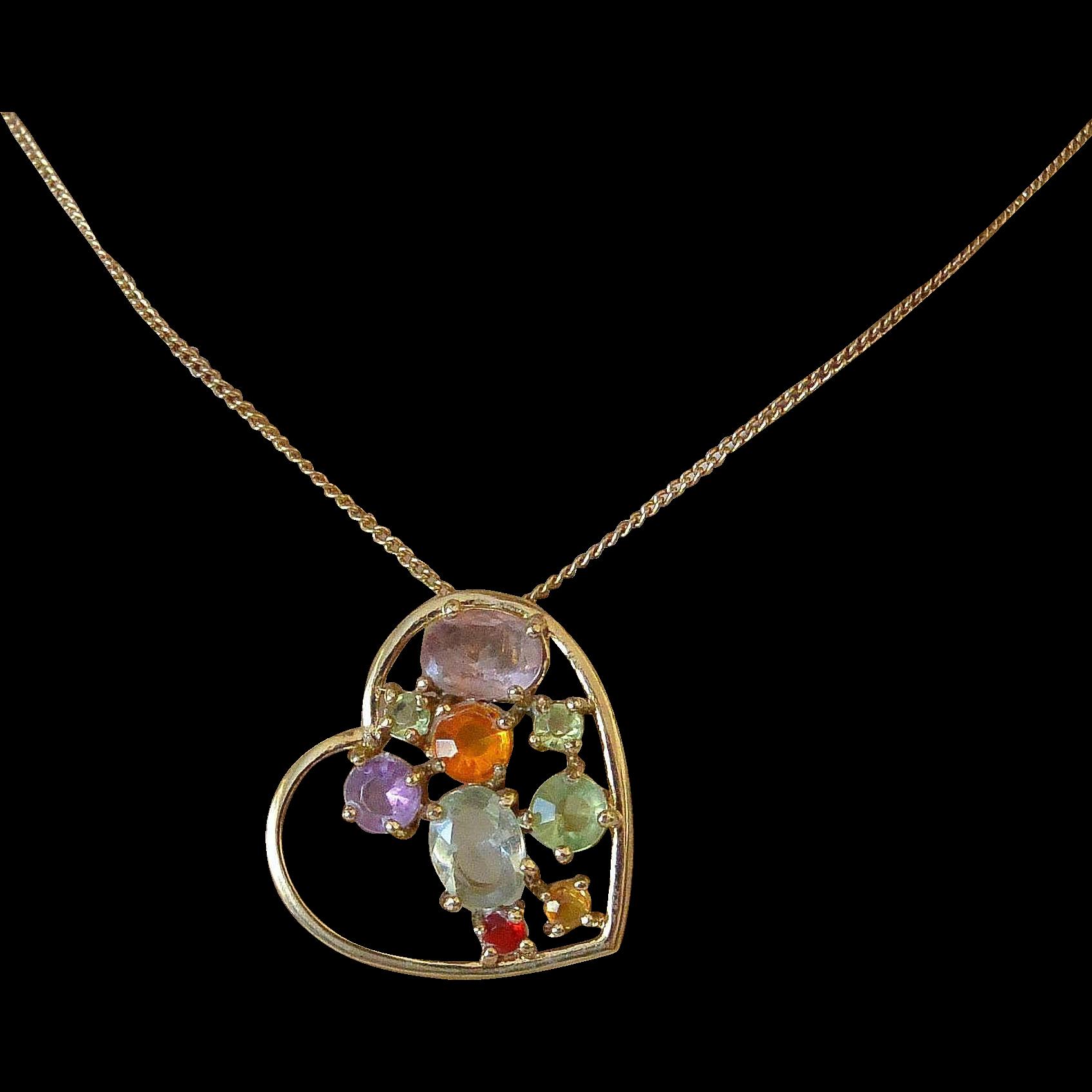 Jeweled Heart Pendant Necklace