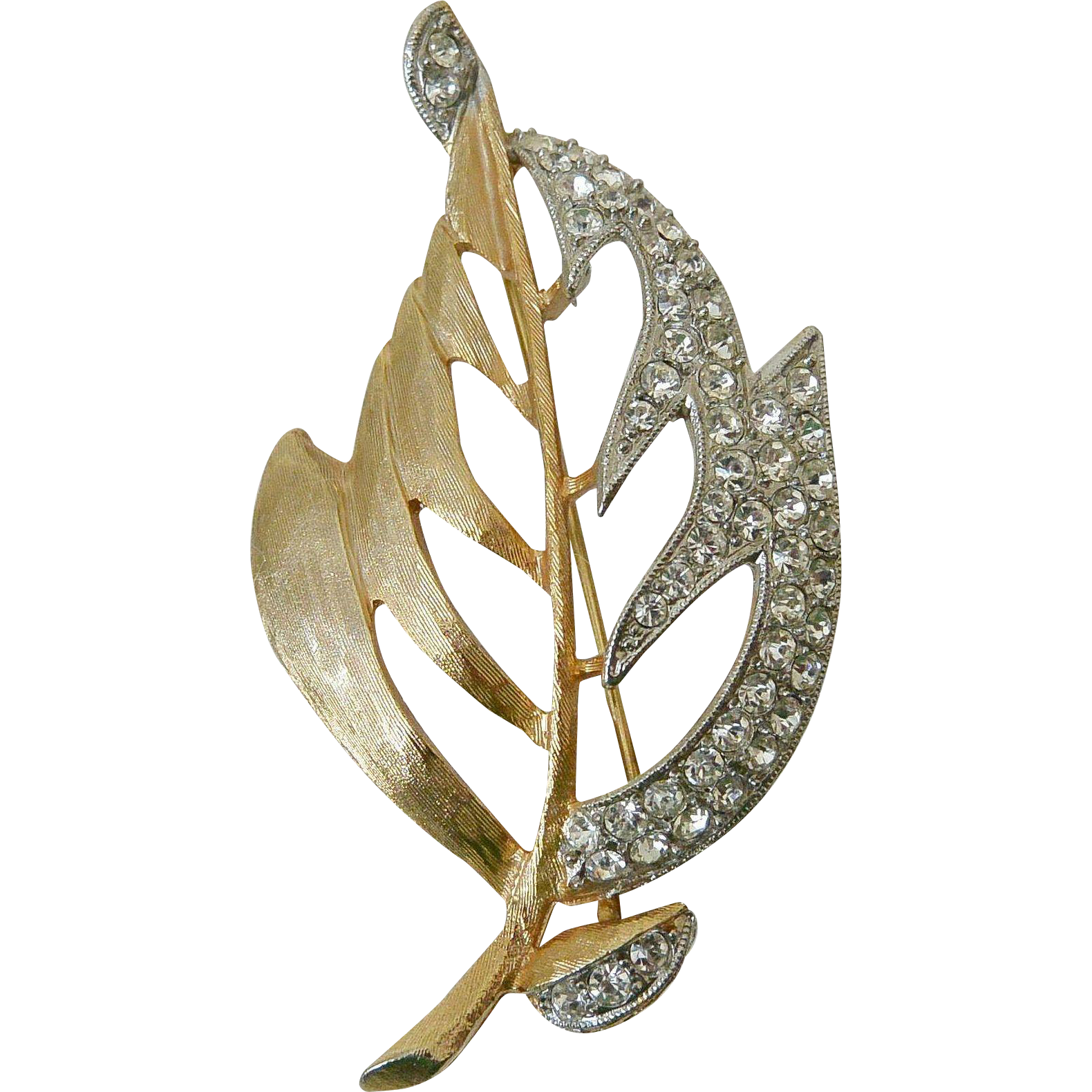 Pave Rhinestones Autumn Leaf Brooch Pin