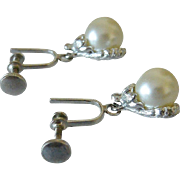 Screw Back Dangle Earrings Simulated Pearls on Half Shell