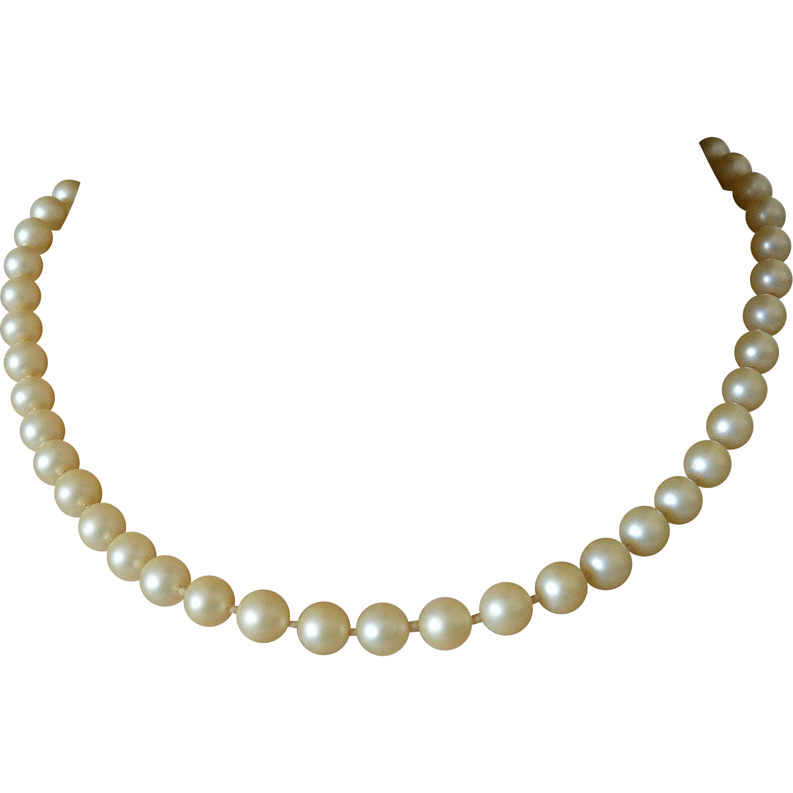 Single Strand Simulated Pearls Necklace Hidden Clasp
