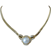 Fabulous Rhinestone and Simulated Pearl Slide Pendant Necklace