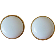 1980's Classic Monet White Dome Clip Earrings