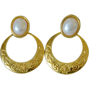 Gold Tone Hoop Post Earrings with Faux Pearl Liz Claiborne LiC