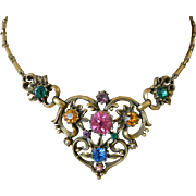 "1948 -1955 Victorian Revival Rhinestone Necklace Signed ""Coro"" Book Piece"