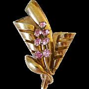 1940's Retro Period Pink Rhinestones Pin