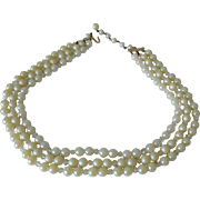 Three Strands Japan Necklace Iridescent Faux Pearls