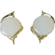 White Moonglow Thermoset Clip Earrings