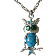 1980's Jeweled Owl Pendant Necklace