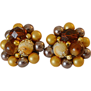 Japan Amber and Faux Pearls Cluster Beads Clip Earrings