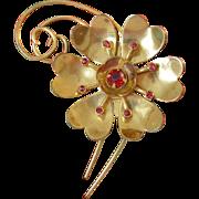 1940's Retro Period Red Rhinestone Flower Pin
