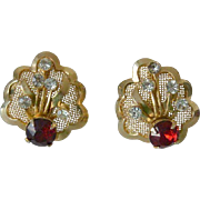 Gorgeous Retro Period Mesh and Red Rhinestone Screw back Earrings