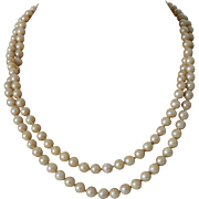 Two Strands 24 Inch Dark Cream Faux Pearls Necklace with Starburst Rhinestone Clasp