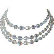 Fabulous Three Stranded Aurora Borealis Crystals Necklace