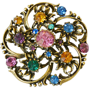 """Coro"" Signed 1948-1955 Multi Colors Rhinestone Brooch Pin - Book Piece"