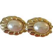 Paolo Designer Clip Earrings Faux Pearl Cabochons