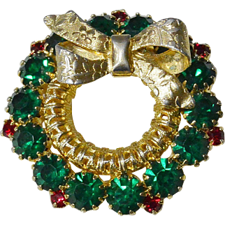 Green and Red Rhinestones Wreath Pin with Bow