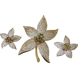 White Poinsettia Flower Multi Colors Rhinestones Brooch and Clip Earrings Set