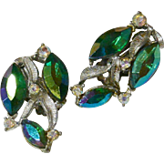 Green Aurora Borealis Marquis Rhinestone Clip Earrings