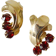 Retro Period Ruby Red Rhinestones Screw Back Earrings