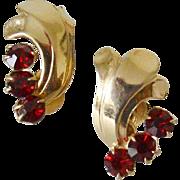 Retro Period Ruby Red Rhinestones Screw Back Earrings