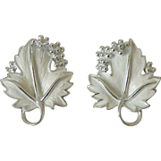 "Sarah Coventry 1960's ""Whispering Leaves"" Clip Earrings"