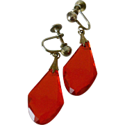 Red Briolettes Screw Back Drop Earrings