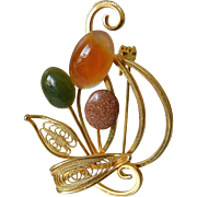 Aventurine and Goldstone Retro Style Brooch Pin