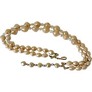 Champagne Faux Pearl Aurora Borealis Beads Necklace