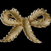 Crown Trifari Ribbon Bow Brooch Pin