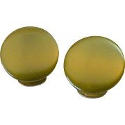 Olive Green Moonglow Lucite Clip Earrings
