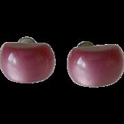 Purple Moonglow Lucite Screw Back Earrings