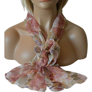 Chiffon Scarf with Corsage Pin Set Fall Colors Flowers Design New Old Stock