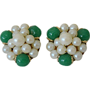 Japan Faux Pearl and Green Jade Beads Clip Earrings