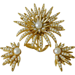 B.S.K. Brooch and Earrings Set Faux Seed Pearls Floret Motif