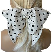 Bow and Sash Hair Barrett Black Polka Dot on White Jacquard-New Old Stock