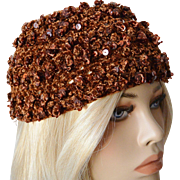 1960's Crocheted Copper Sequins' Women's Cap