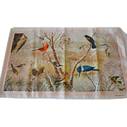 1979 National Wildlife Federation Avian Print Rectangular Scarf
