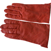 Red Leather Angora Wool Lined Ladies Gloves
