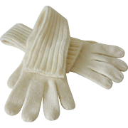 1980's Liz Claiborne Long Winter White Wool Gloves