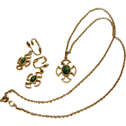 Necklace Earrings Set Maltese Cross  Green Faux Gemstones - Avon